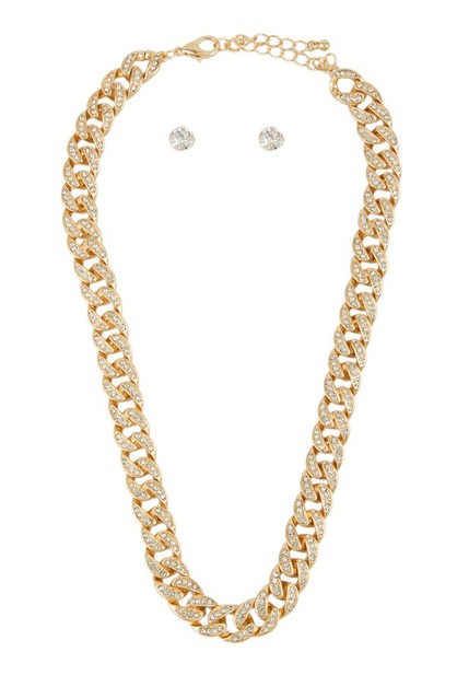 Thick Cuban Chain with Rhinestone Ac - orangeshine.com