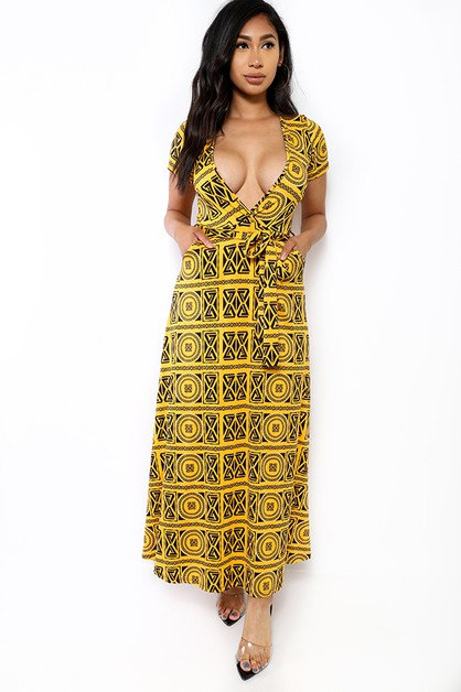 SHORT SLEEVE MAXI DRESS - orangeshine.com