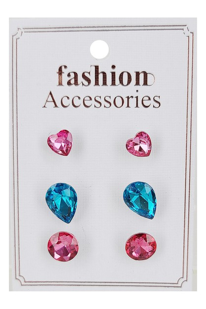 3-Pair Glass Earring Set - orangeshine.com