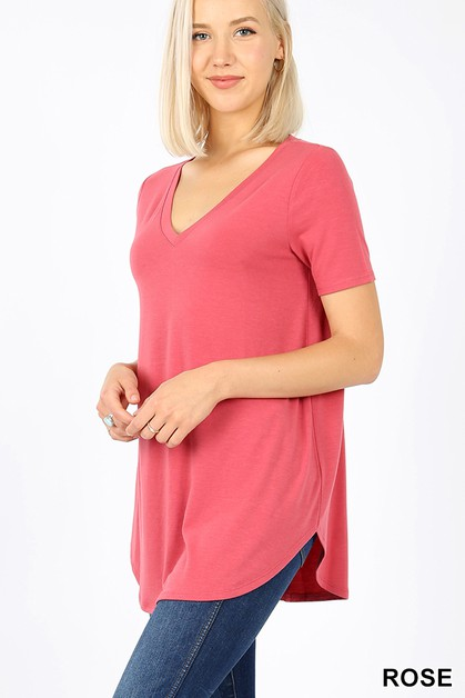 SHORT SLEEVE V-NECK ROUND HEM TOP - orangeshine.com