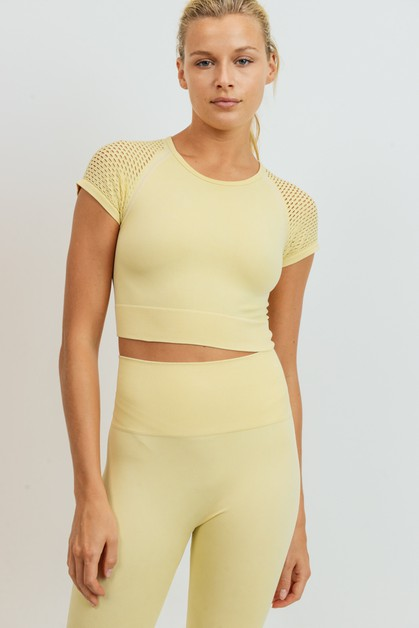 Perforated Raglan Crop Top - orangeshine.com