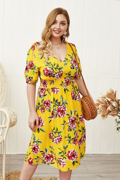floral printed loose fit midi dress - orangeshine.com