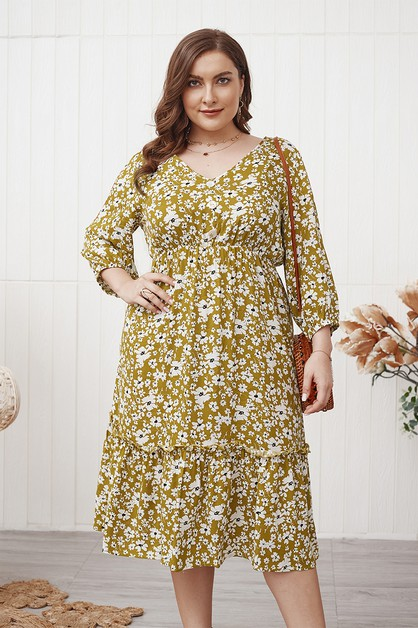loose fit sexy midi plus size dress - orangeshine.com