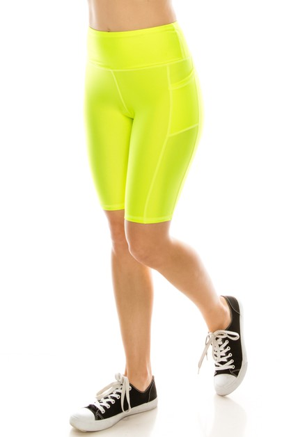 Solid biker shorts with pockets - orangeshine.com