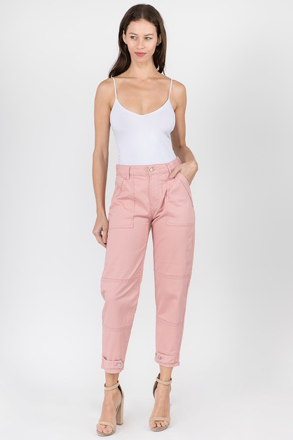 SLOUCHY FIT GARMENT DYED COLOR PANTS - orangeshine.com