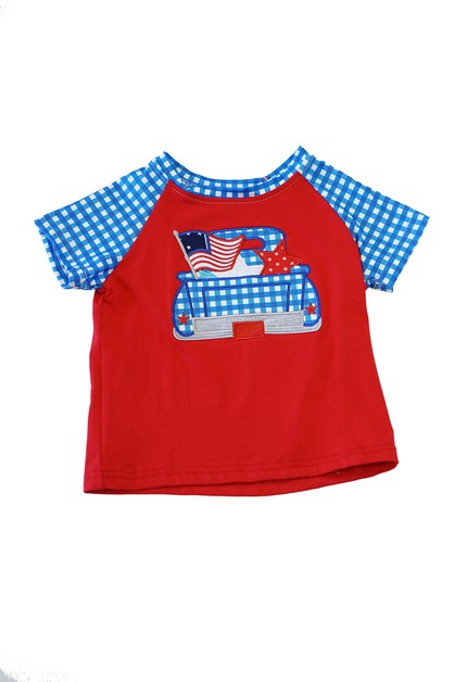 Blue gingham truck flag boy shirt - orangeshine.com