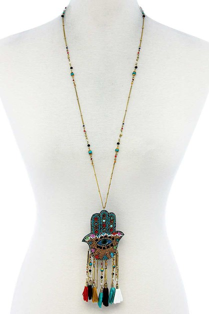 HAMSA AND TASSEL LONG NECKLACE - orangeshine.com