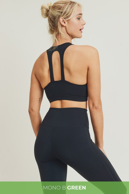 Mono B GREEN Twin Straps Sports Bra - orangeshine.com