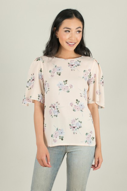 Blush Floral Pleated Sleeve Top - orangeshine.com