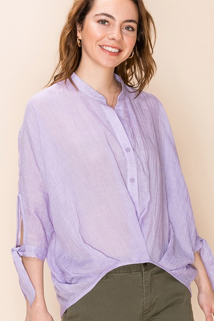 CHINESE COLLAR BUTTON UP BLOUSE - orangeshine.com