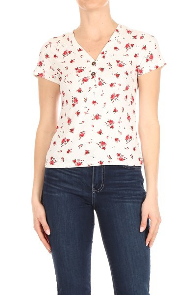 White Floral Tops Button Down - orangeshine.com