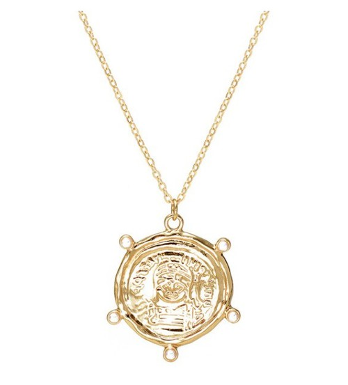 Gold Carved Coin Necklace - orangeshine.com