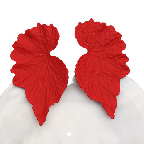 Mirrored Leaf Earrings -Red - orangeshine.com