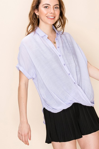BUTTON UP CROSSOVER TOP - orangeshine.com