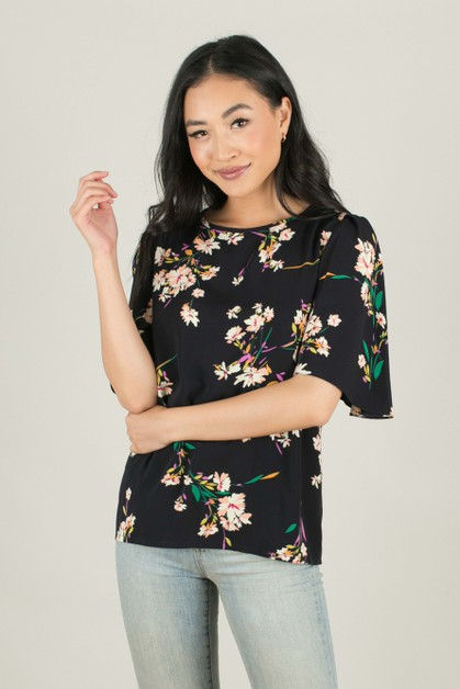 Black Floral Pleated Sleeve Top - orangeshine.com
