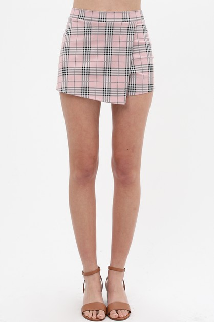 PLAID PRINTED FLAP SKORT - orangeshine.com