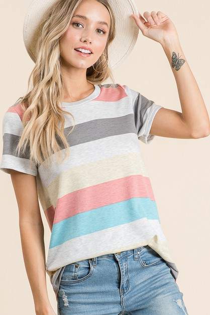 CASUAL STRIPE TOP - orangeshine.com