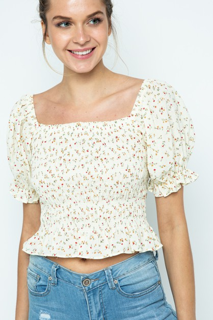 Floral Print Smocked Top With Puff S - orangeshine.com