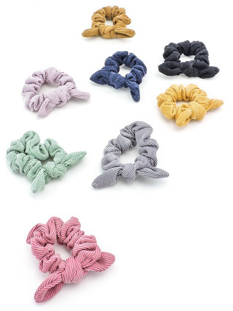 Teddi Ribbed Bow Scrunchies  - orangeshine.com