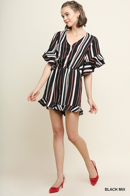 Multicolor Striped Romper - orangeshine.com