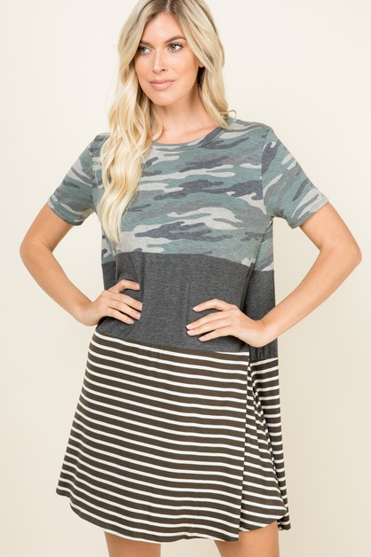 PARTIALLY CAMO AND STRIPED DRESS - orangeshine.com
