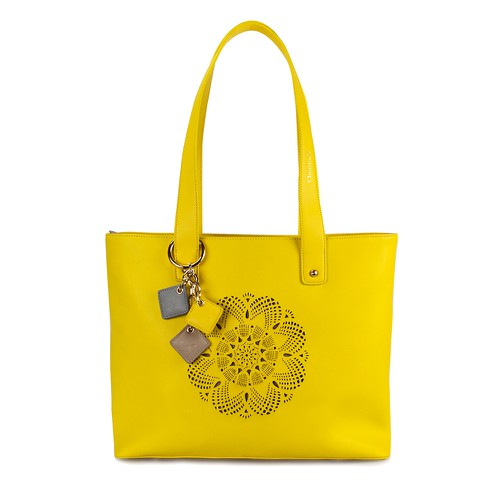 Sprout Leather Tote -Lemon - orangeshine.com