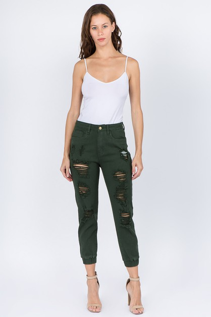 HIGH WAIST COLOR DENIM JOGGERS - orangeshine.com