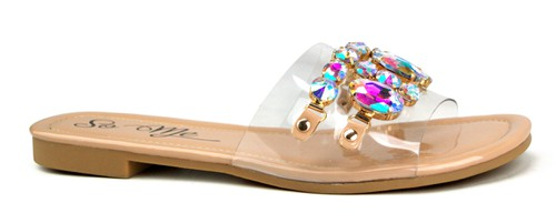 JEWELED STONES CLEAR UPPER SANDAL - orangeshine.com