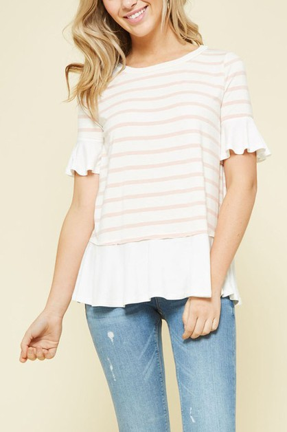 PROMESA Striped knit top with ruffle - orangeshine.com