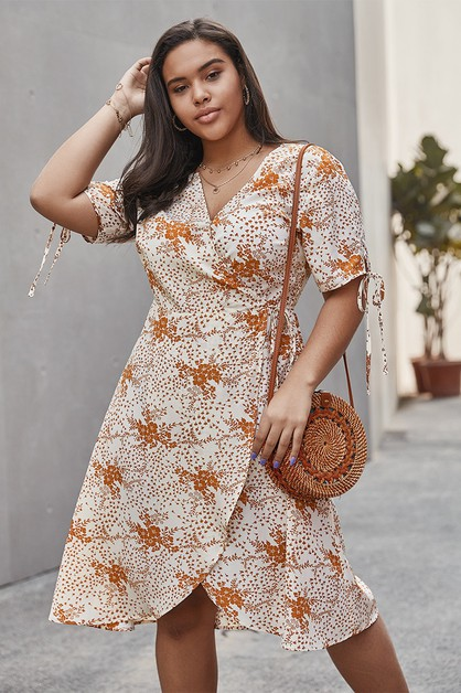 summer short-sleeved wrap dress - orangeshine.com