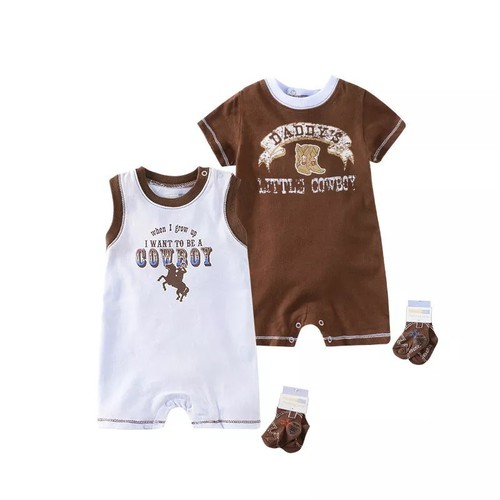 2pc daddys cowboy romper set - orangeshine.com