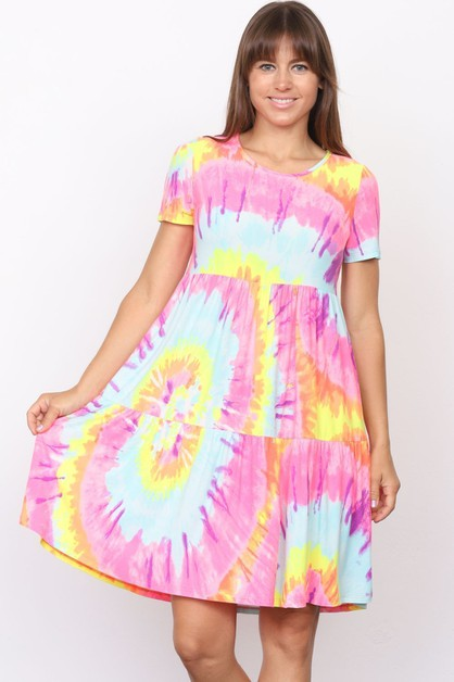 Plus Tie Dye Tiered Ruffle Dress - orangeshine.com