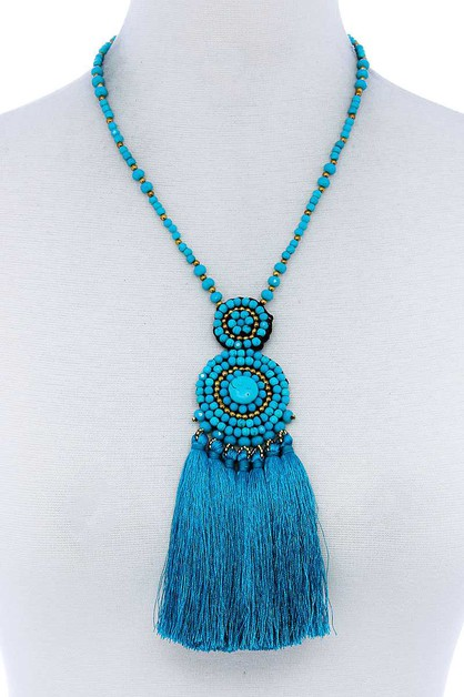 BIG TASSEL AND BEADED NECKLACE - orangeshine.com