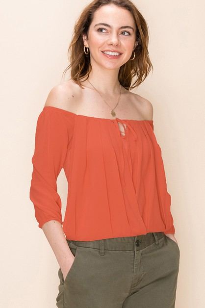 OFF THE SHOULDER PLEATED BLOUSE WITH - orangeshine.com