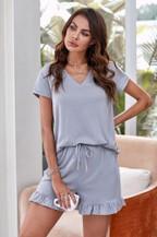 T-shirt Ruffle Shorts Pajamas Set - orangeshine.com