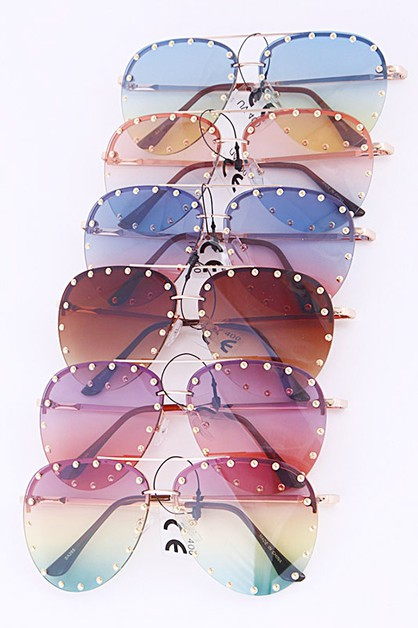 Studded Mix Tone Aviator Sunglasses - orangeshine.com