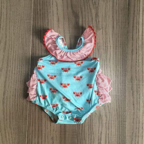 Blue crab ruffle bubble romper  - orangeshine.com