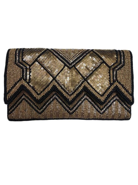 ZIG ZAG Pattern Golden Clutch - orangeshine.com