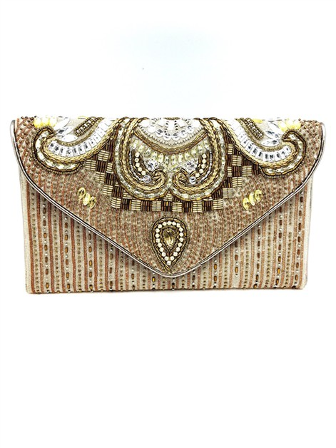 Constantinople Gold Beaded Clutch - orangeshine.com