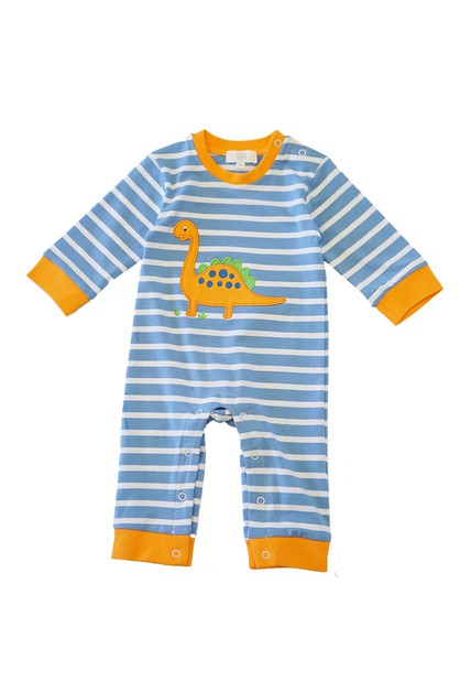 Blue stripe dinosaur applique baby - orangeshine.com