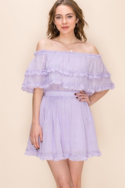 OFF THE SHOULDER DRESS WITH RUFFLE T - orangeshine.com