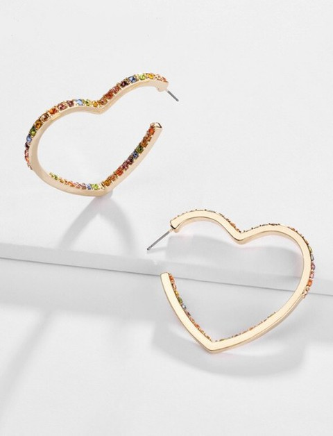 Multicolor Crystal Heart Stud Earrin - orangeshine.com