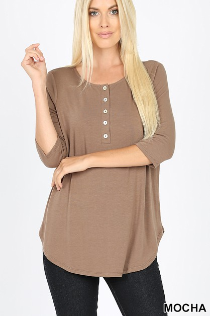 SLEEVE DOLPHIN HEM SHELL BUTTON TOP - orangeshine.com