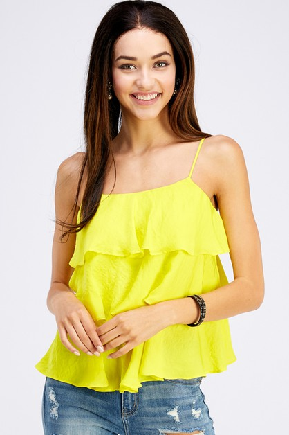 CAMI WITH ADJUSTABLE STRAP RUFFLE - orangeshine.com
