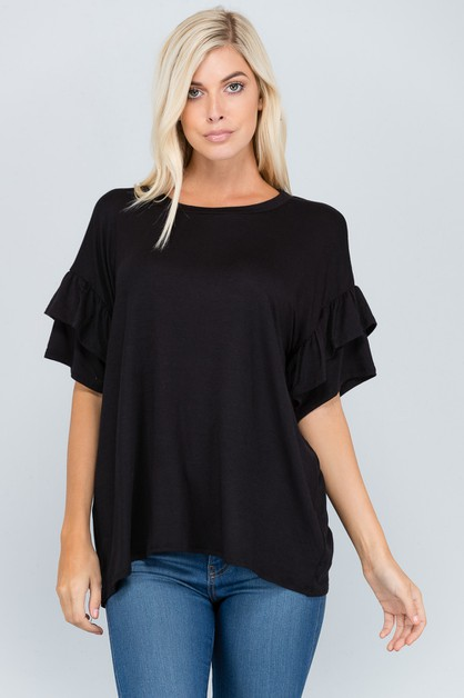 DOUBLE LAYER SLEEVE TOP SOLID BASIC  - orangeshine.com