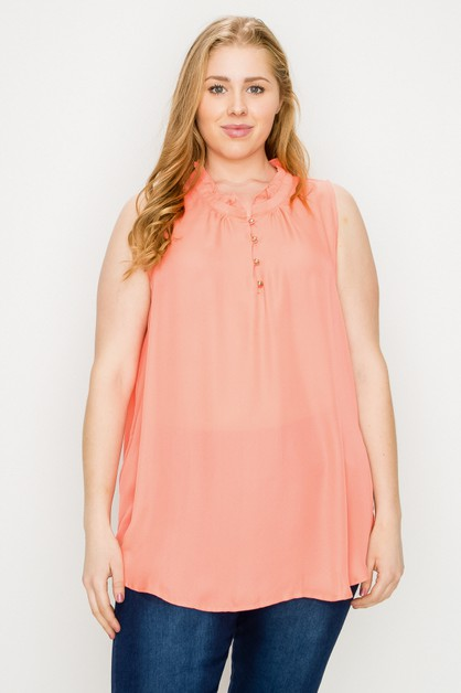 Plus Size Sleeveless Top - orangeshine.com