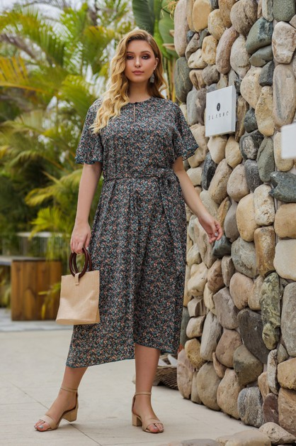 Short-sleeved floral print dress - orangeshine.com