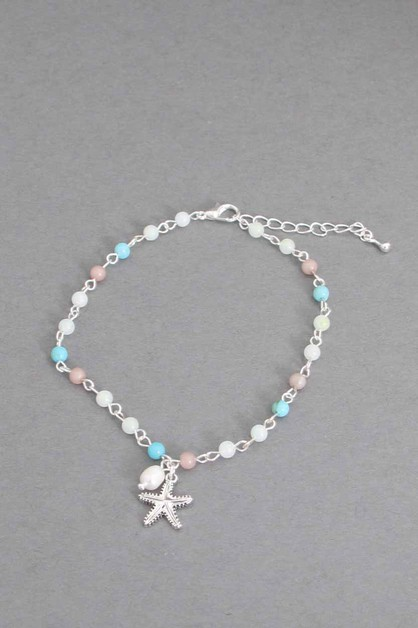 COLOR BEAD CHAIN ANKLET  - orangeshine.com