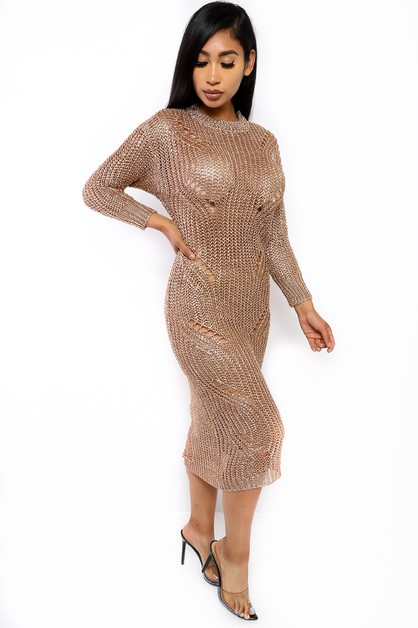 METALLIC MESH KNIT DRESS - orangeshine.com