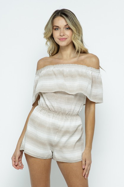 Striped Woven Romper - orangeshine.com